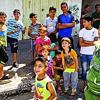 Children pictured on a street of Gaza City. Photo: Jens Buettner/dpa