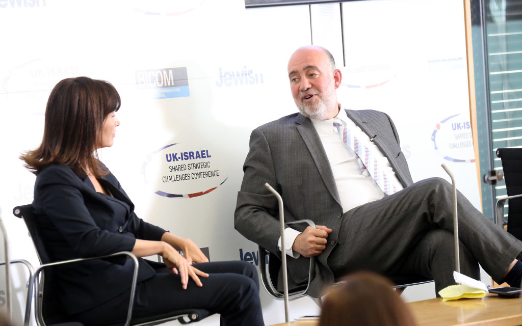 Einat WIlf interviewing Ron Prosor during the Jewish News UK-Israel Shared Strategic Challenges Conference