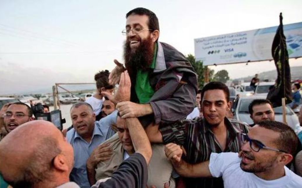 Khader Adnan after being released fro,
