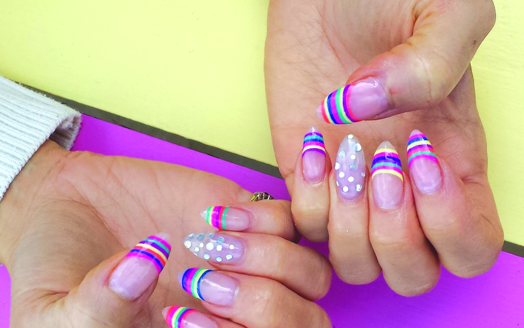Lucy Tucker's rainbow nails