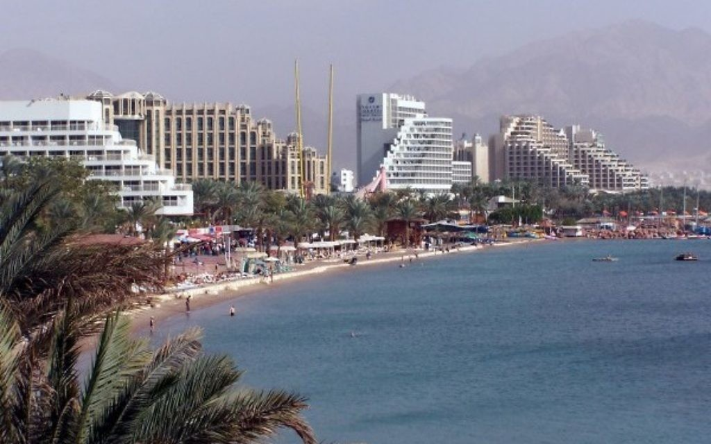 Eilat's big four hotels along the Red Sea coastline.