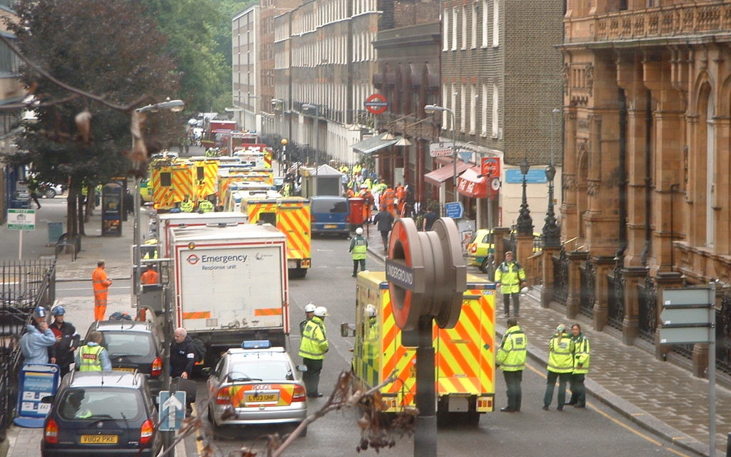Ambulances at Russell Square, London after the 7th July bombings