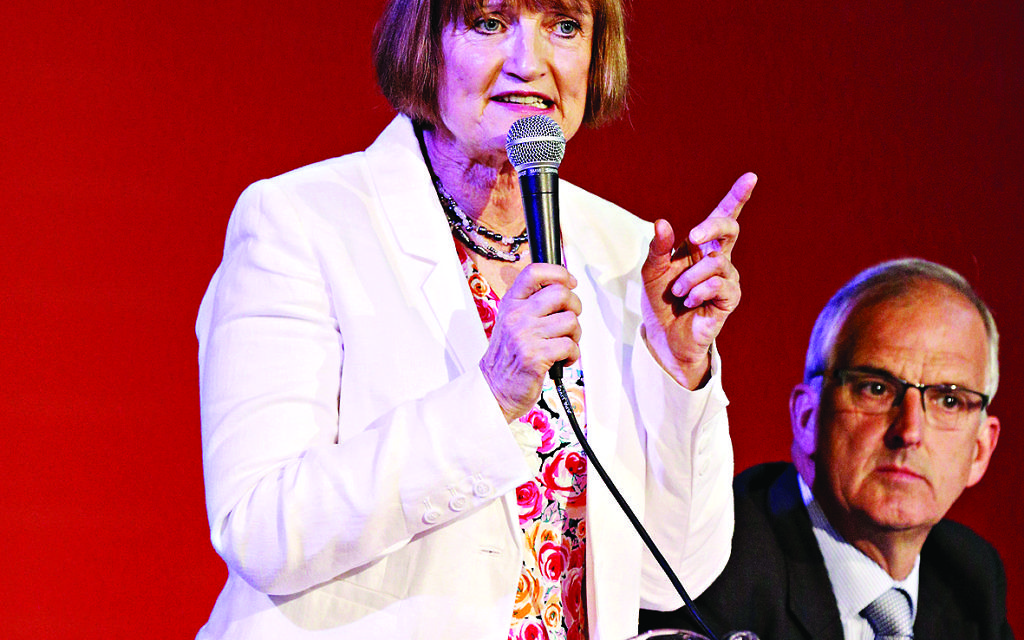 Tessa Jowell speaking during the London Labour hustings for mayoral candidacy, at the Camden Centre in central London.
