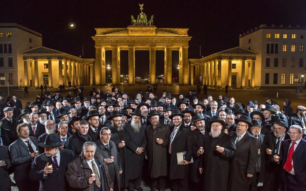 European rabbis gather in Germany, with the famous Brandenburg Gate in the background.. Source: the Conference of European Rabbis Facebook page