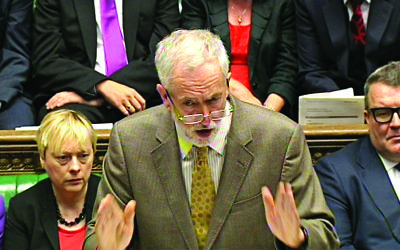 Labour party leader Jeremy Corbyn speaks during Prime Minister's Questions in the House of Commons, London.