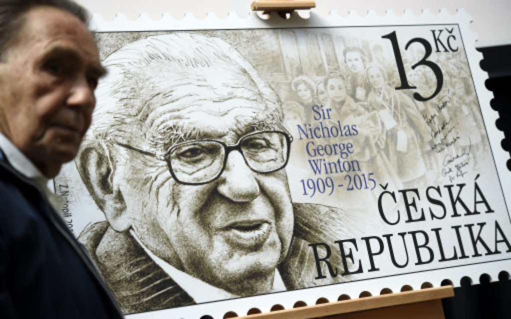 Presentation of postage stamp dedicated to Sir Nicholas Winton, who helped save many Czech Jewish children from the Nazi persecutions, in Prague, Czech Republic.