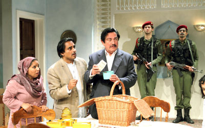 Shobu Kapoor, Sanjeev Bhaskar and Steven Berkoff star in Dinner With Saddam. Credit: Catherine Ashmore