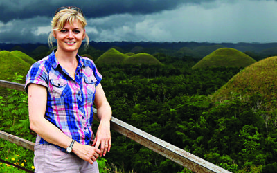 Karen Bowerman against the backdrop of the Chocolate Hills in Bohol