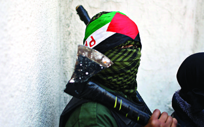 A masked Palestinian youth carries an axe in the West Bank (AP Photo/Nasser Nasser)