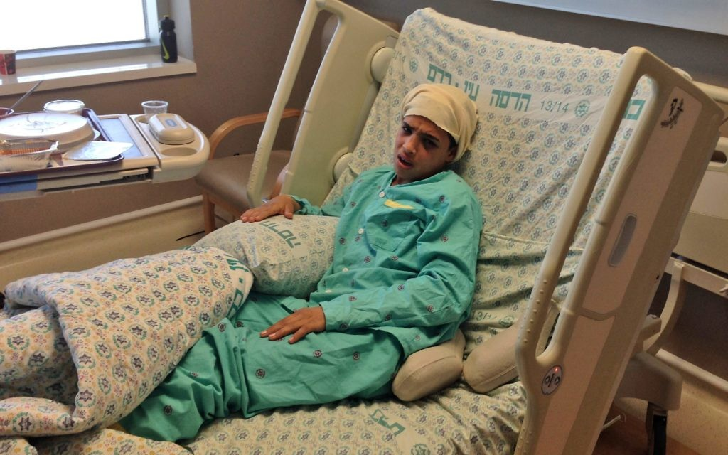 Ahmed Mansra, who stabbed and seriously wounded two Israelis, in hospital in 2015.