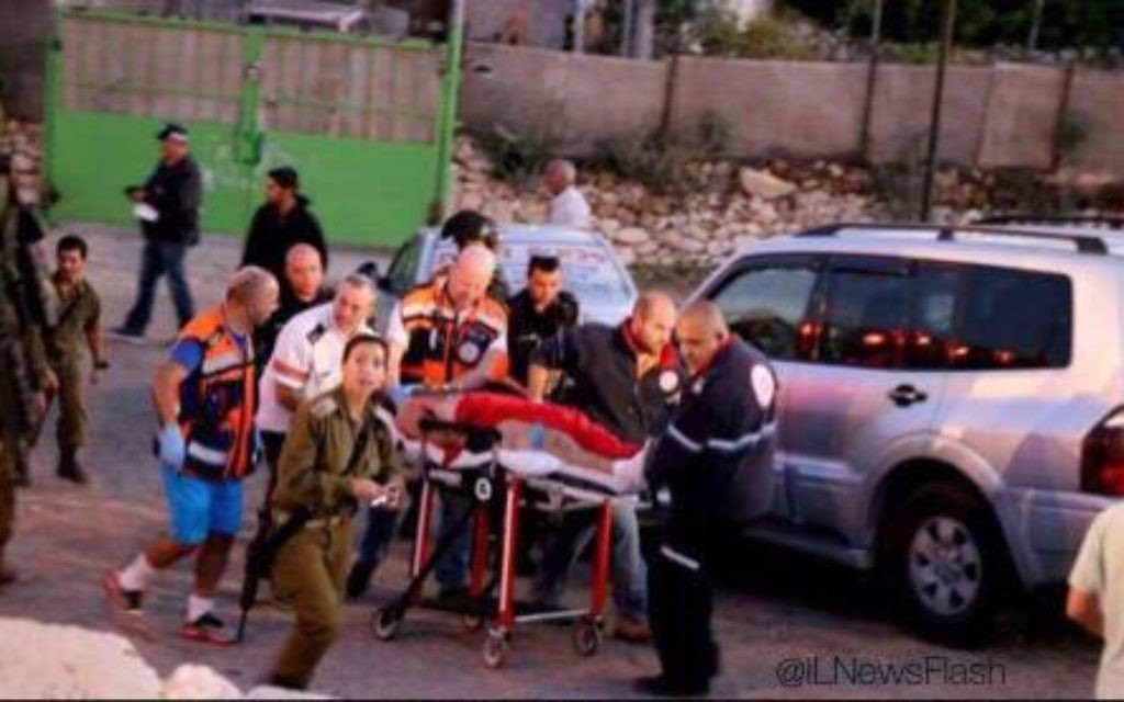 An Israeli man is evacuated in critical condition from a Jewish settlement near Hebron