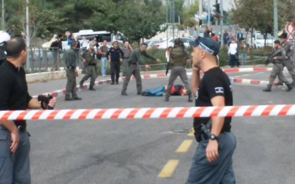 Moments after a stabbing  at French Hill light rail station, at which 2 Israelis injured, and an attacker was shot. (Source: Israel News Flash)