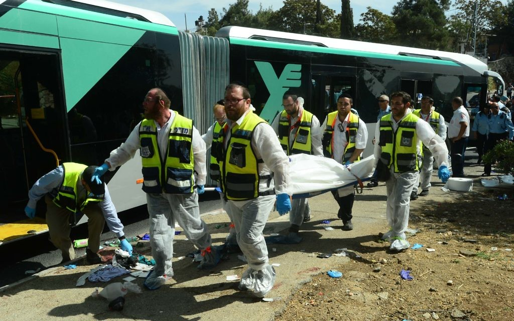 The aftermath of a terror attack in 2015, when two terrorists boarded an Egged bus armed with a gun and the other with a knife.  (Kobi Gideon/GPO ONLY)