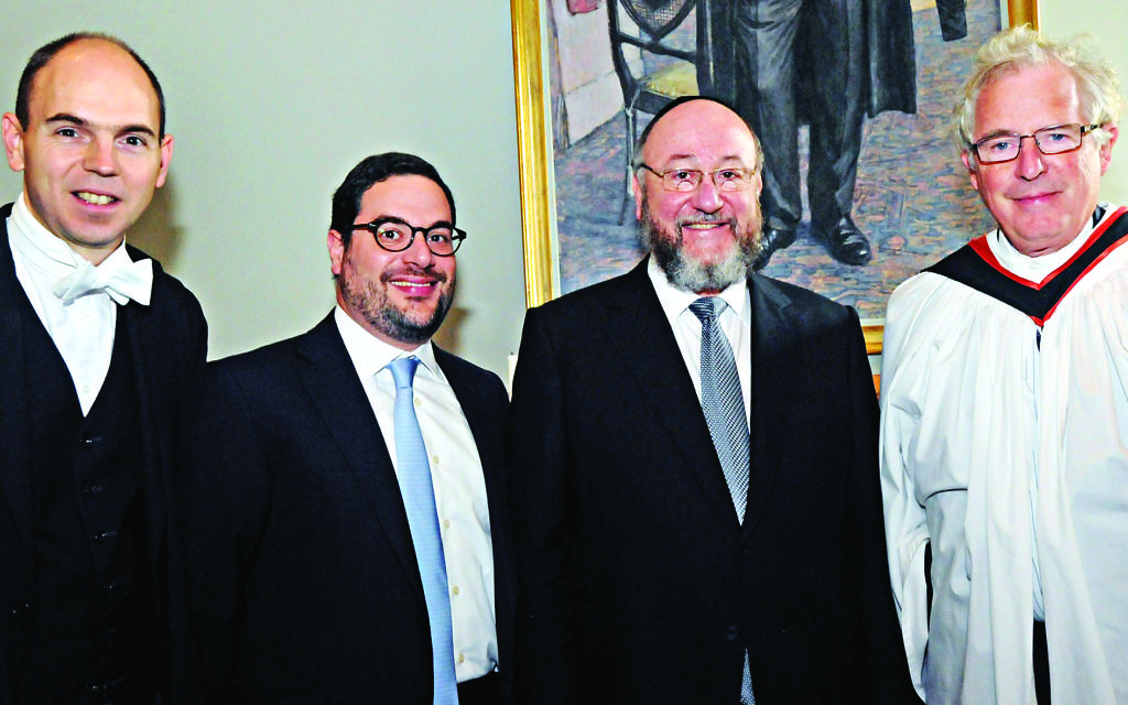 Pictured left to right: Simon Henderson, Chaplaincy chair Uri Goldberg, Chief Rabbi Mirvis and Provost Lord Waldegrave. (Picture credit: John Rifkin)