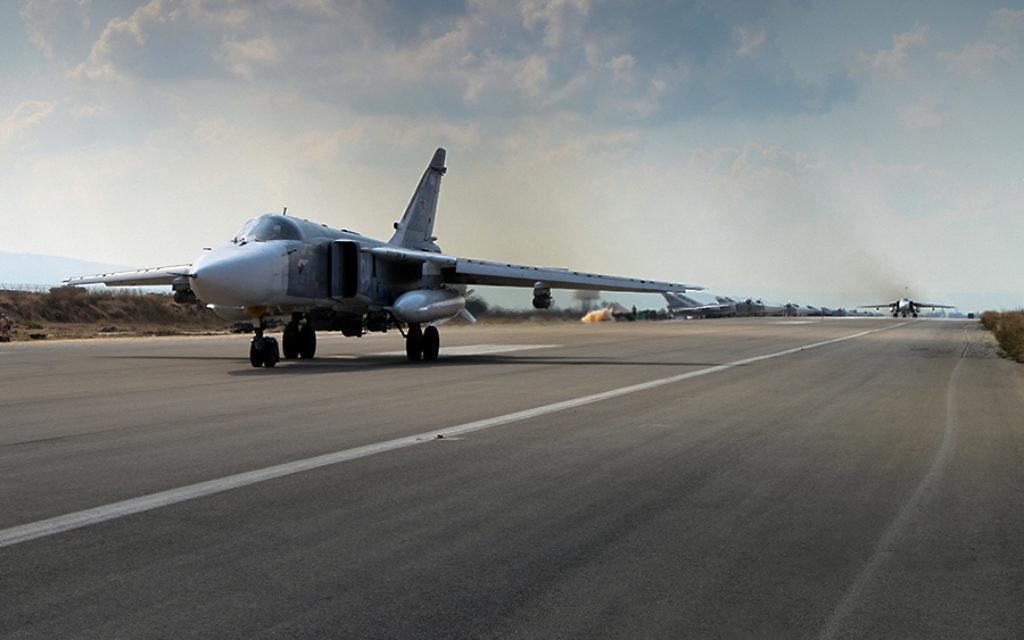 Russian military aircraft at Latakia base in Syria