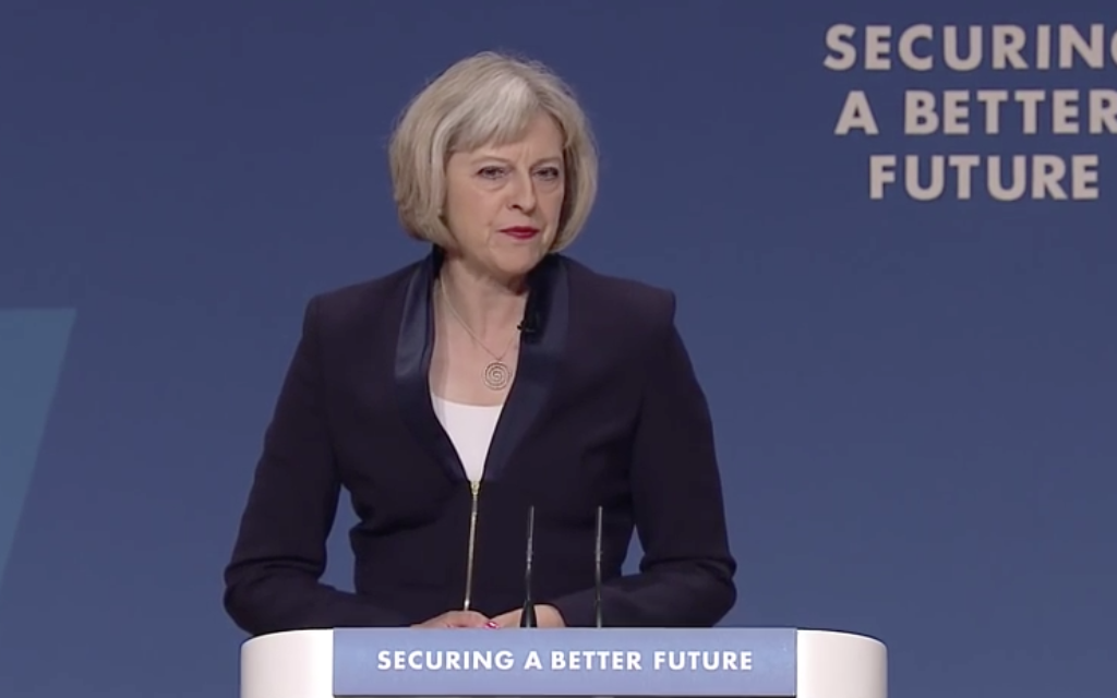 Theresa May during her conference speech
