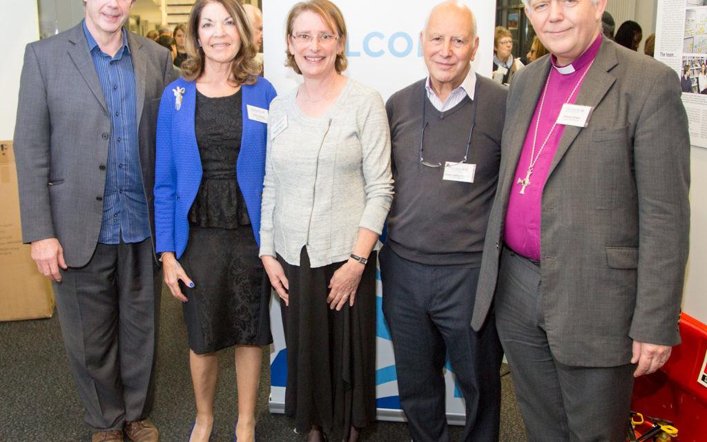 (from left) Jonathan Porritt, Board Vice President Sheila Gewolb, Maureen Kendler, Rabbi Jeffrey Newman and the Bishop of Salisbury, Nick Holtam