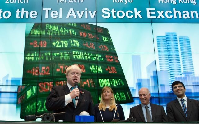 Boris Johnson opens trading at the Tel Aviv Stock Exchange at the start of a four day trade visit to Israel whilst foreign secretary in 2015. Photo credit: Stefan Rousseau/PA Wire