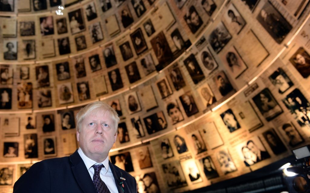 Mayor of London Boris Johnson is shown around the Holocaust museum, Yad Vashem in Jerusalem, Israel, during the second of a four day trade visit to the region.  Photo credit: Stefan Rousseau/PA Wire