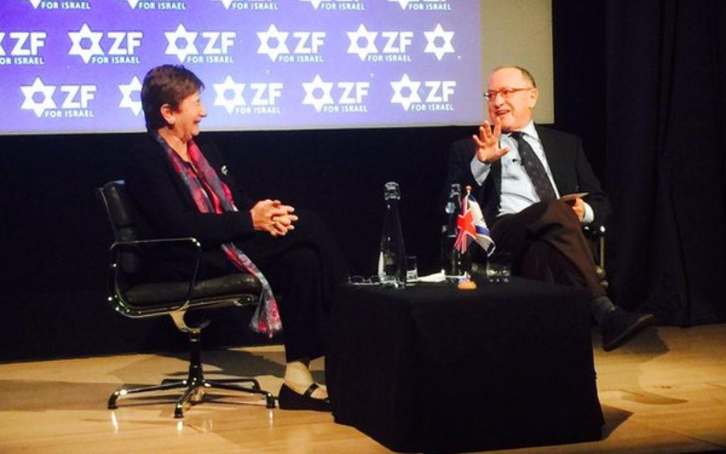 Baroness Deech (left) interviewing Alan Dershowitz (right)  (Image from @James_J_Marlow on Twitter)