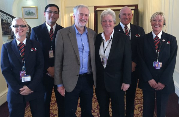 Jeremy Corbyn with G4S staff at last year's conference in Brighton.