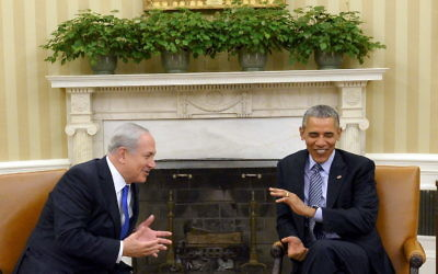 Benjamin Netanyahu (left) with outgoing U.S. president Barack Obama in the White House