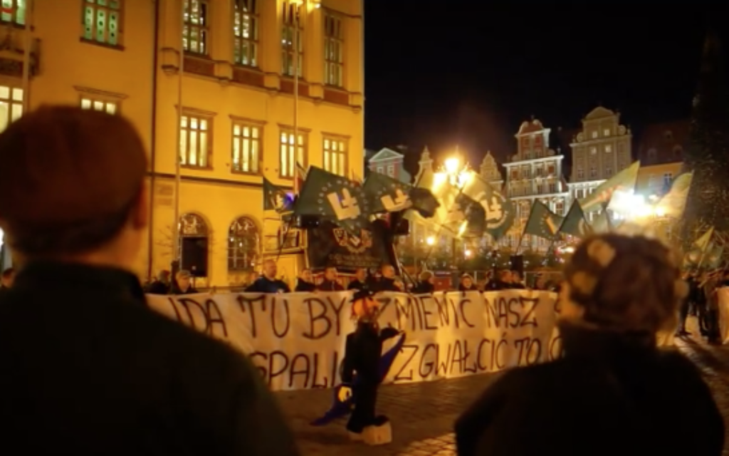 A screenshot of the video in which an effigy of an Orthodox Jew was burnt in Poland