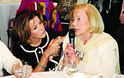 Natasha Kaplinsky (left) with Holocaust survivor Gena Turgel