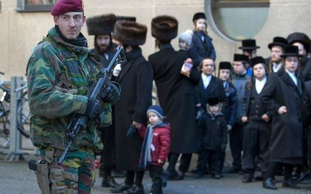 Armed guards at a shul in Antwerp