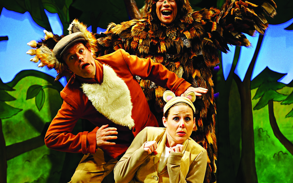 In costume:Ellie Bell (Mouse), Timothy Richey (various predators) and Owen Guerin (the Gruffalo)