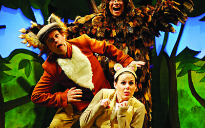 In costume: Ellie Bell (Mouse), Timothy Richey (various predators) and Owen Guerin (the Gruffalo)