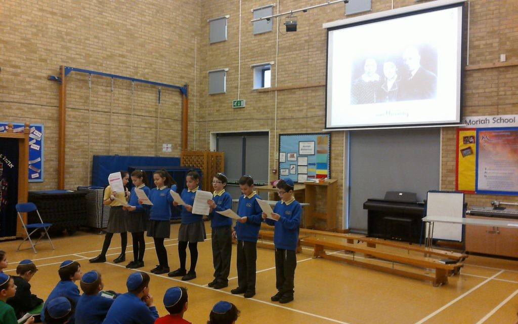Moriah Jewish Day School.    Assemblies were held to commemorate Holocaust Memorial Day.  The children took part in a whole school sponsored silence, to remind them not to stand by and be silent. Money was raised for the Holocaust Survivors Centre.