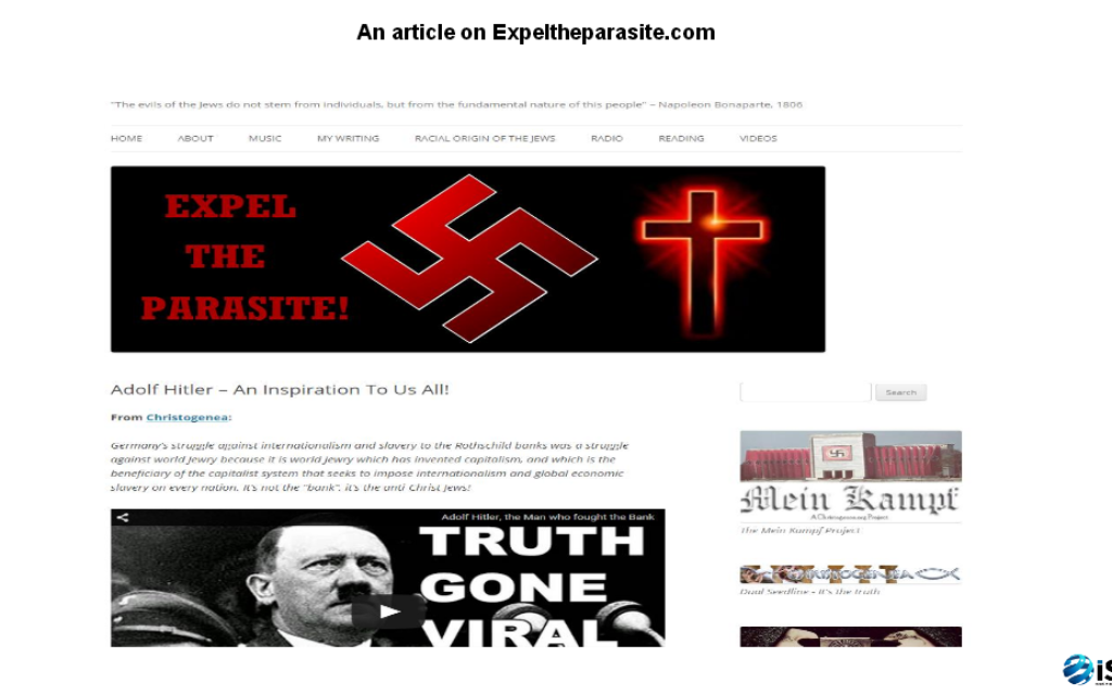 One of the pages in the report by the Israeli students, glorifying Adolf Hitler