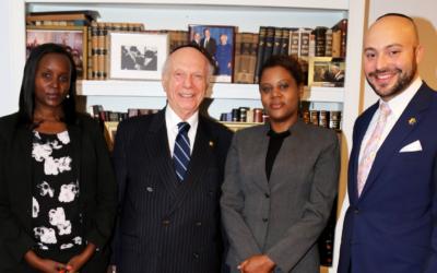 (L-R) Jacqueline Murekatete, Rabbi Arthur Schneier, Consolee Nishimiwe, Jonny Daniels