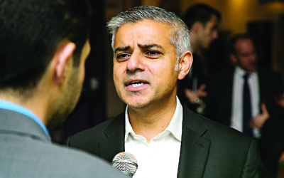 Sadiq Khan being interviewed by the Jewish News during the battle for City Hall.