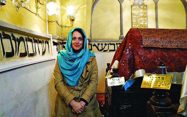 Annika Hernroth- Rothstein in the Abrishami Synagogue in northern Tehran, where she reported for the Jewish News.