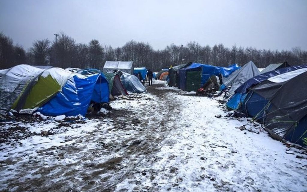 The refugee camp in the snow