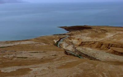 The Jordan river draining into the Dead Sea