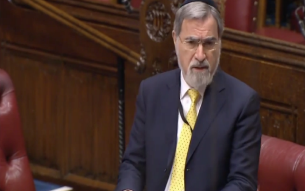 Lord Sacks addresses the house of Lords