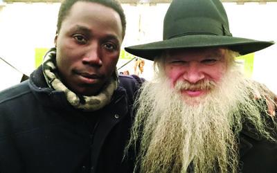 Musa, the Sudanese refugee, with Rabbi Herschel Gluck, founder of the Muslim-Jewish Forum