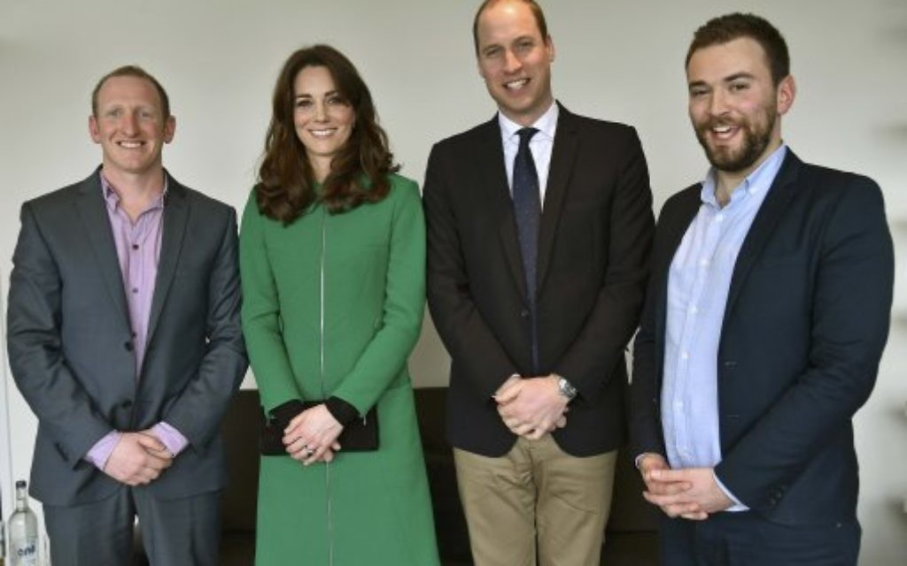 The Duchess of Cambridge and the Duke of Cambridge with former patient Jonny Benjamin (right), and Neil Laybourn during their visit to St Thomas' Hospital in London while promoting mental health issues and to highlight the help available for those who threaten to take their own lives.
