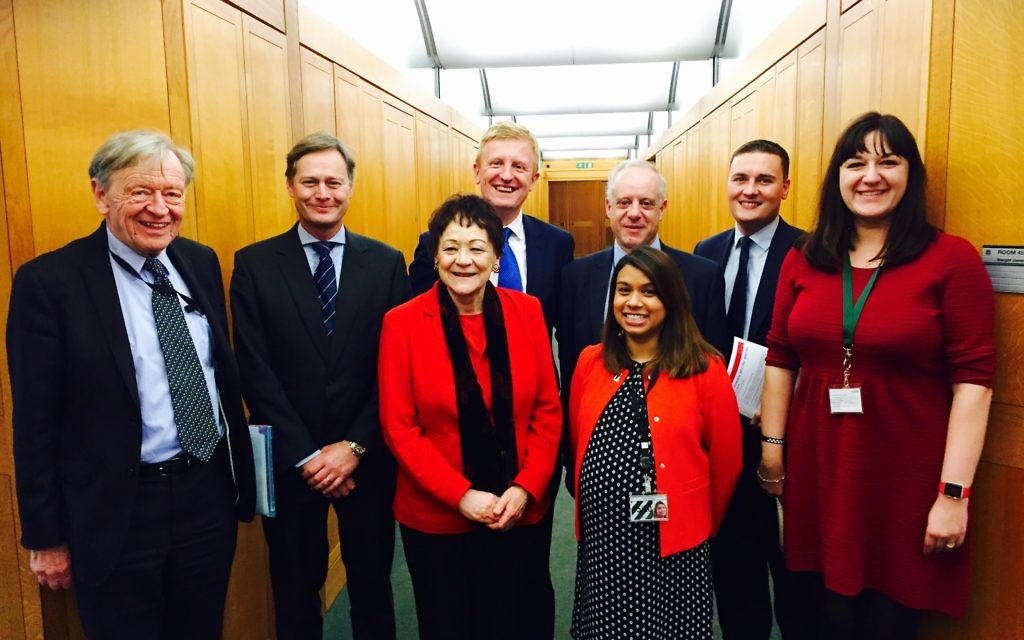 Photo (left to right) Lord Alf Dubs, Matthew Offord MP, Baroness Sarah Ludford, Oliver Dowden MP,Tulip Siddiq MP, Jonathan Arkush, Wes Streeting MP, Ruth Smeeth MP