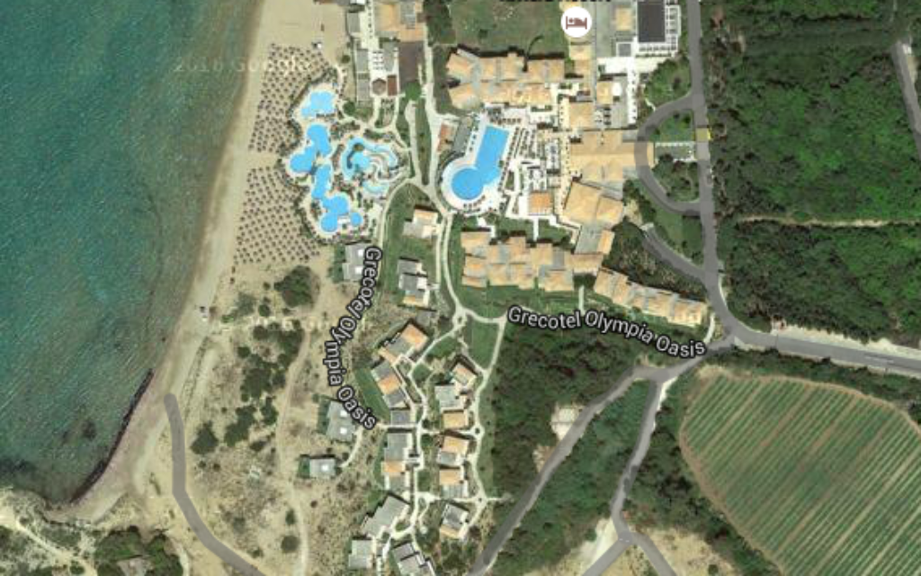 The Grecotel Olympia Riviera (Screenshit from google maps)