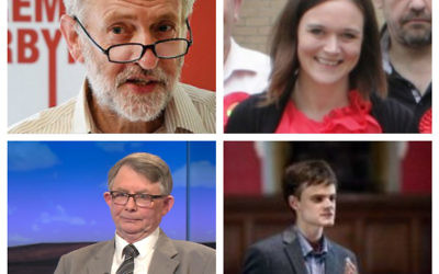 Top l-r: Jeremy Corbyn and Vicki Kirby. Bottom l-r: Gerry Downing and Alex Chalmers