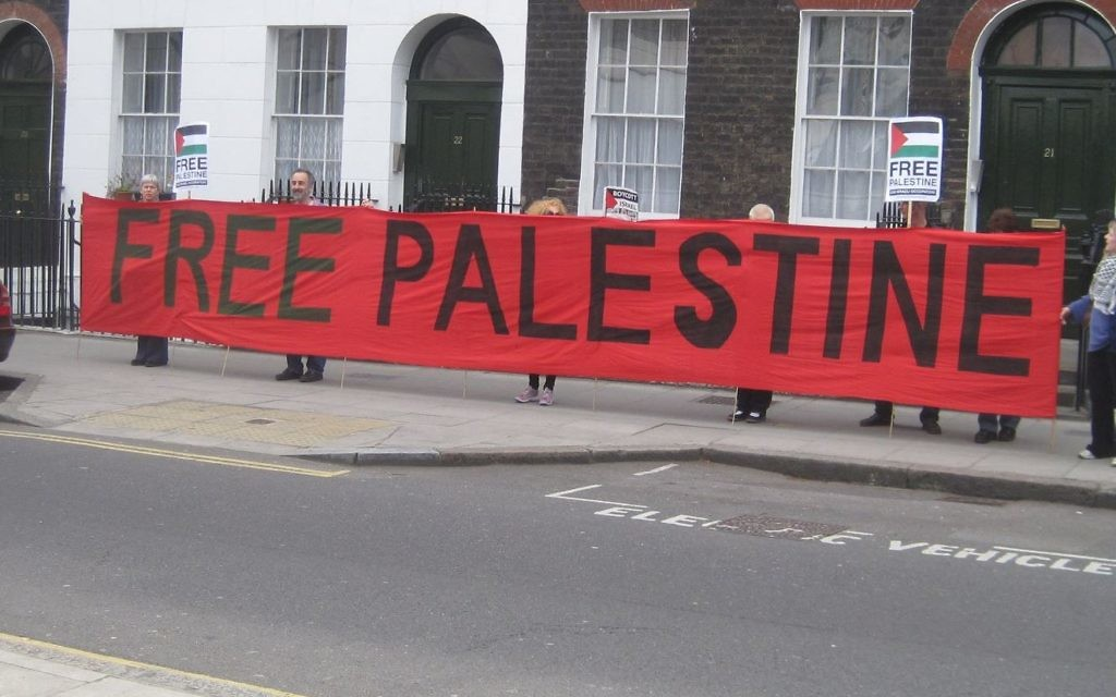 The image used to illustrate Gill Kaffash's publicly available Facebook page, of a 2011 pro-Palestine demonstration.