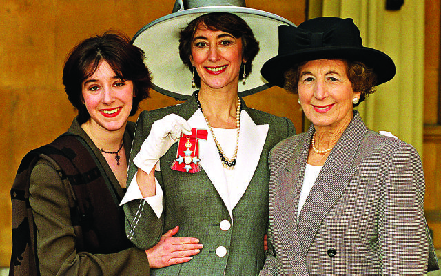 Actress Maureen Lipman (centre) is accompanied by daughter Amy and mother Zelma at Buckingham Palace, where she received her CBE from the Queen.