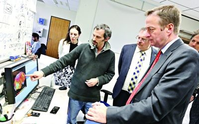 David Quarrey [far right] Visiting one of many UK-Israel high-tech partnerships