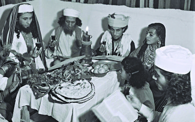 Yemenite Jews celebrating passover