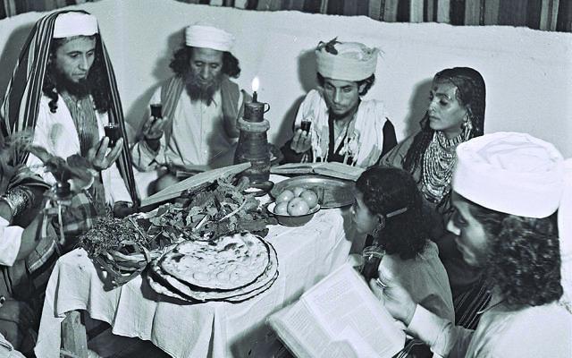 Yemenite Jews celebrating passover