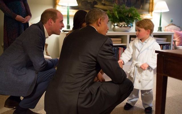 Prince George meets The President and First Lady of the United States